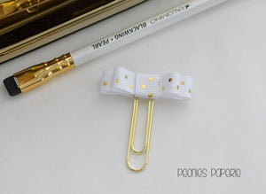 The Kate Bow Gold Polka Dots Ribbon Paper Clip Planner Clip Bookmark for Your Erin Condren Filofax Kikki K Planner Accessories Supplies