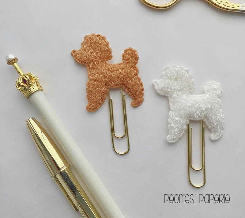 A La Poodle on Gold  Paper Clip Planner Clip Bookmark