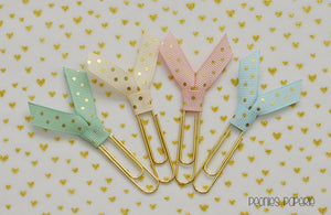 MINI Mermaid Dreams Gold Polka Dots Ribbon Set Planner Paper Clips for Your Erin Condren Filofax Kikki K
