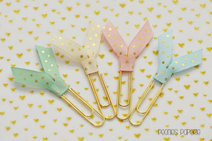 Mermaid Dreams Gold Polka Dots Ribbon Set Planner Paper Clips for Your Erin Condren Filofax Kikki K The Happy Planner