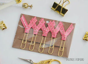 Hot Pink & Gold Polka Dots Ribbon Trio Planner Paper Clips for Your Erin Condren Filofax Kikki K Happy Planner