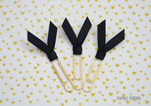 Black Satin Ribbon on Gold Planner Paper Clips for Your Erin Condren Filofax Kikki K Planner Accessories Teacher's Clips Bible Page