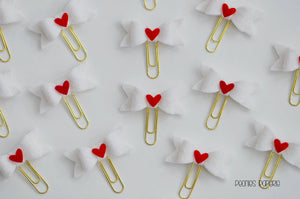 LOVE LETTERS Felt Bow Set on Gold Paper Clips Planner Clips for Your Erin Condren Kate Spade Planner Accessories