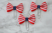 Red White & Blue Flag Bow on Gold Paper Clips Planner Clips For Your Kate Spade Erin Condren Filofax Kikki K