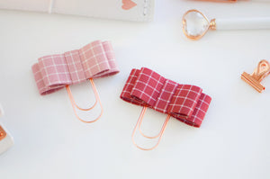 The Bailey Plaid Collection: Audrey Bow in Mauve & Mulberry
