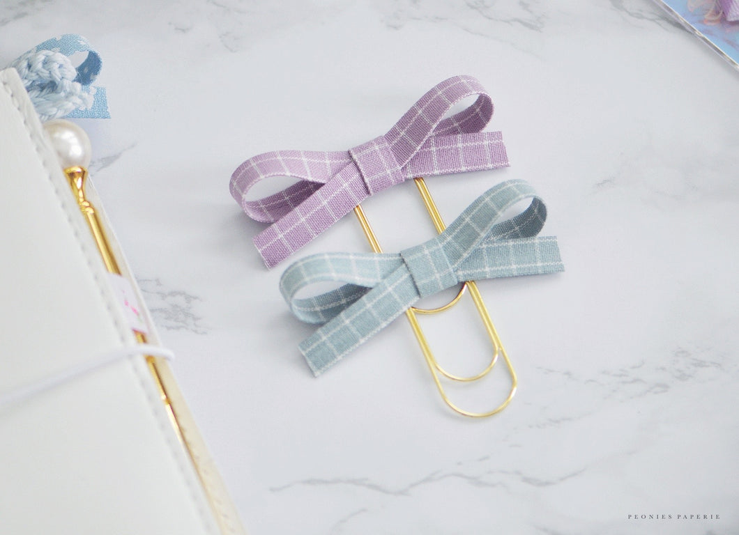The Bailey Plaid Collection: Wisteria & Cloudy Day Alice Plaid Bow Paper Clip Set