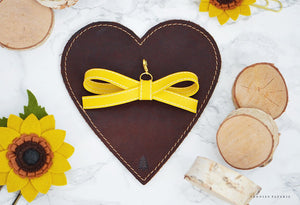 Sunflower Alice Faux Leather Bow Planner Charm
