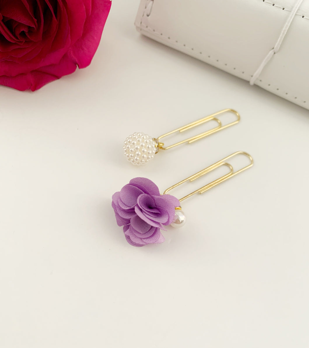 Purple Satin Flower and Pearls Pom Pom Dangle Clips