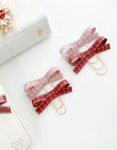 The Bailey Plaid Collection: Mauve & Mulberry Alice Plaid Bow Paper Clip Set