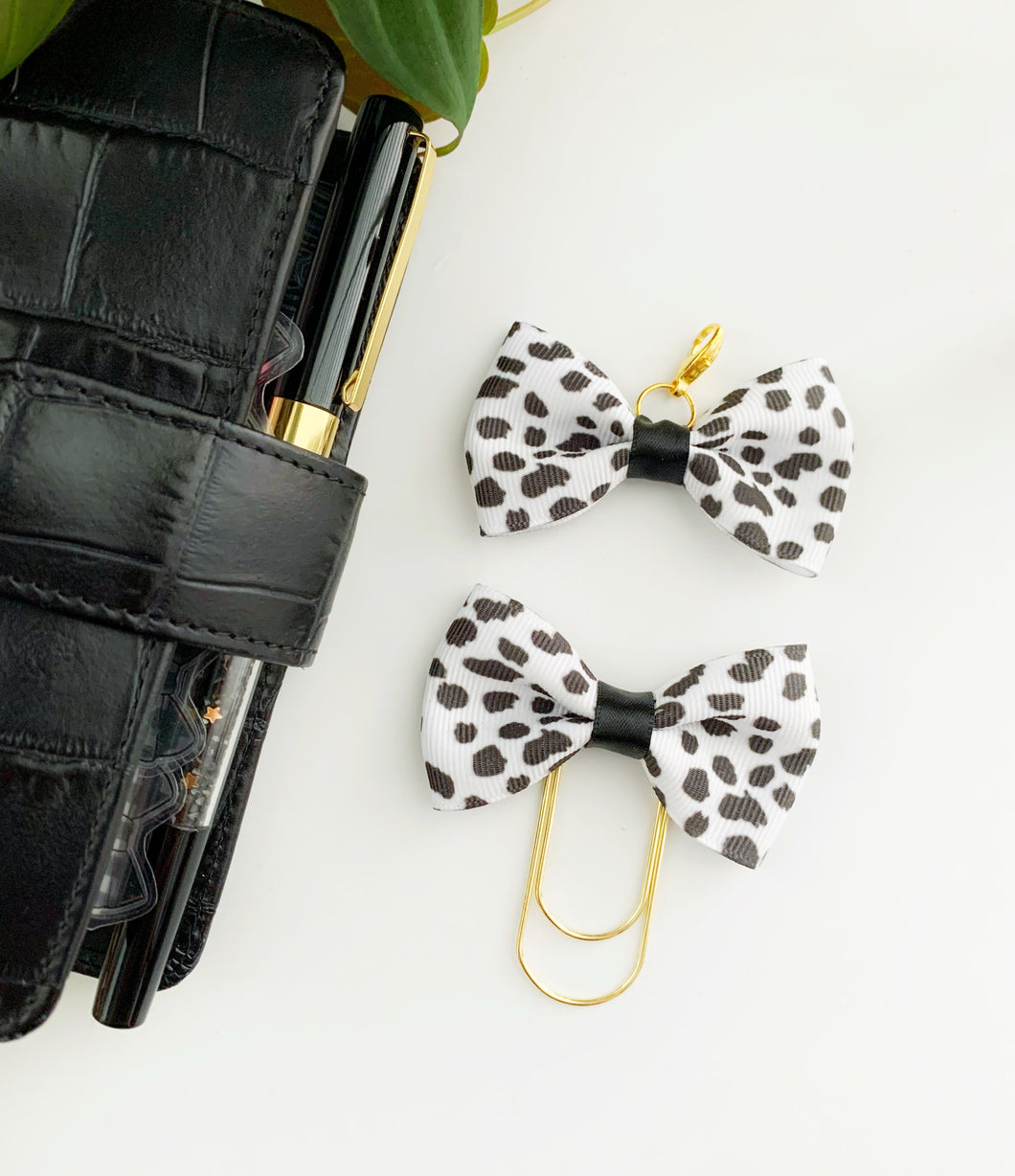 Dalmation Spotted Print Ava Bow Clip or Charm