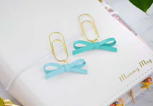 Sky Blue & Aqua Petite Alice Bow Dangle Charms