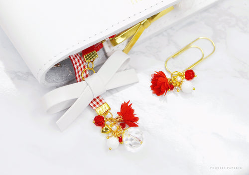 Alice Bow Double Sided Red Velvet Bookmark + Matching Dangle Clip