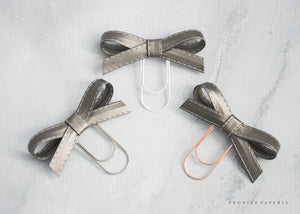 Pewter Alice Faux Leather Bow Paper Clip