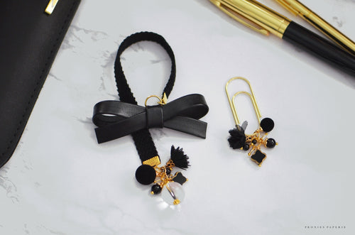 Luxe Velvet Alice Bow Bookmark in Black + Matching Dangle Clip