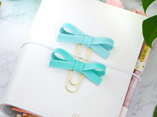 Sky Blue & Aqua Alice Bow Paper Clip Set
