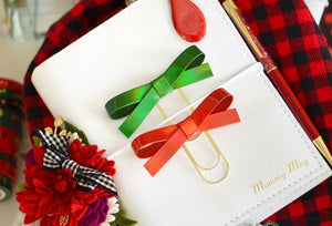 Red & Green Holo Alice Bow Paper Clip Set