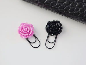 Black & Orchid Rose Clips