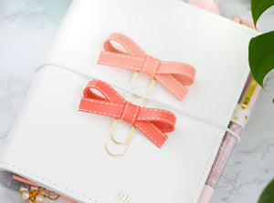 Peach & Coral Alice Bow Paper Clip Set
