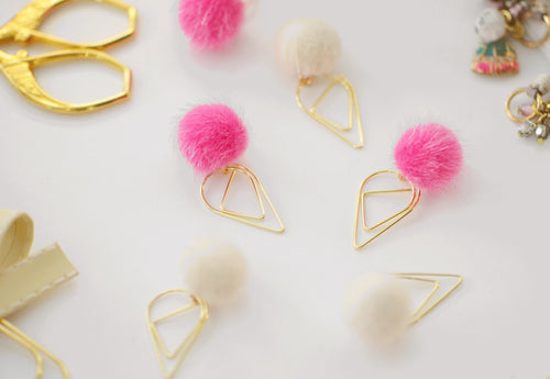 Pixie Pink Pom Pom Dangle Charms Set