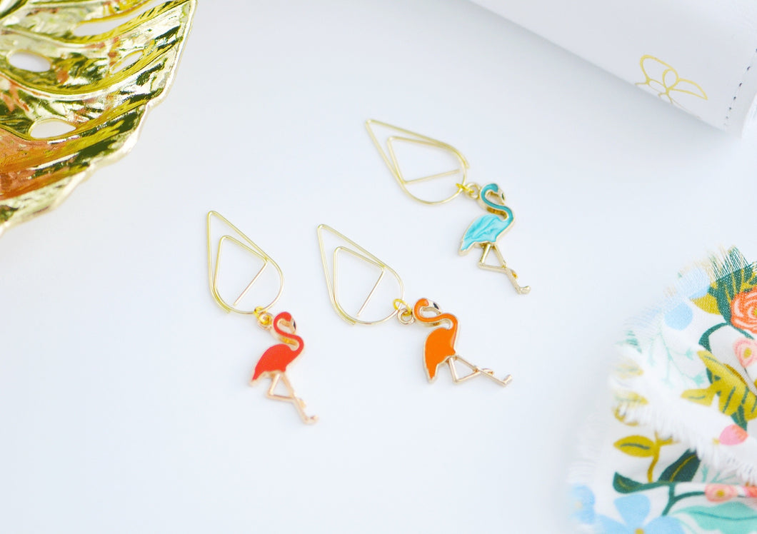 Tropical Flamingos Dangles Charms Trio