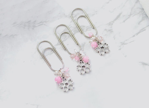 Cherry Blossom Dangle Charm Clip in Silver