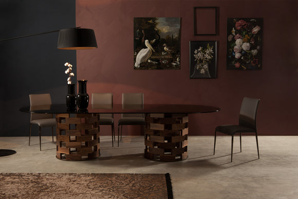 Tonin Casa - Italy - Big Colosseo with Solid Canaletto Walnut Pedestal Base