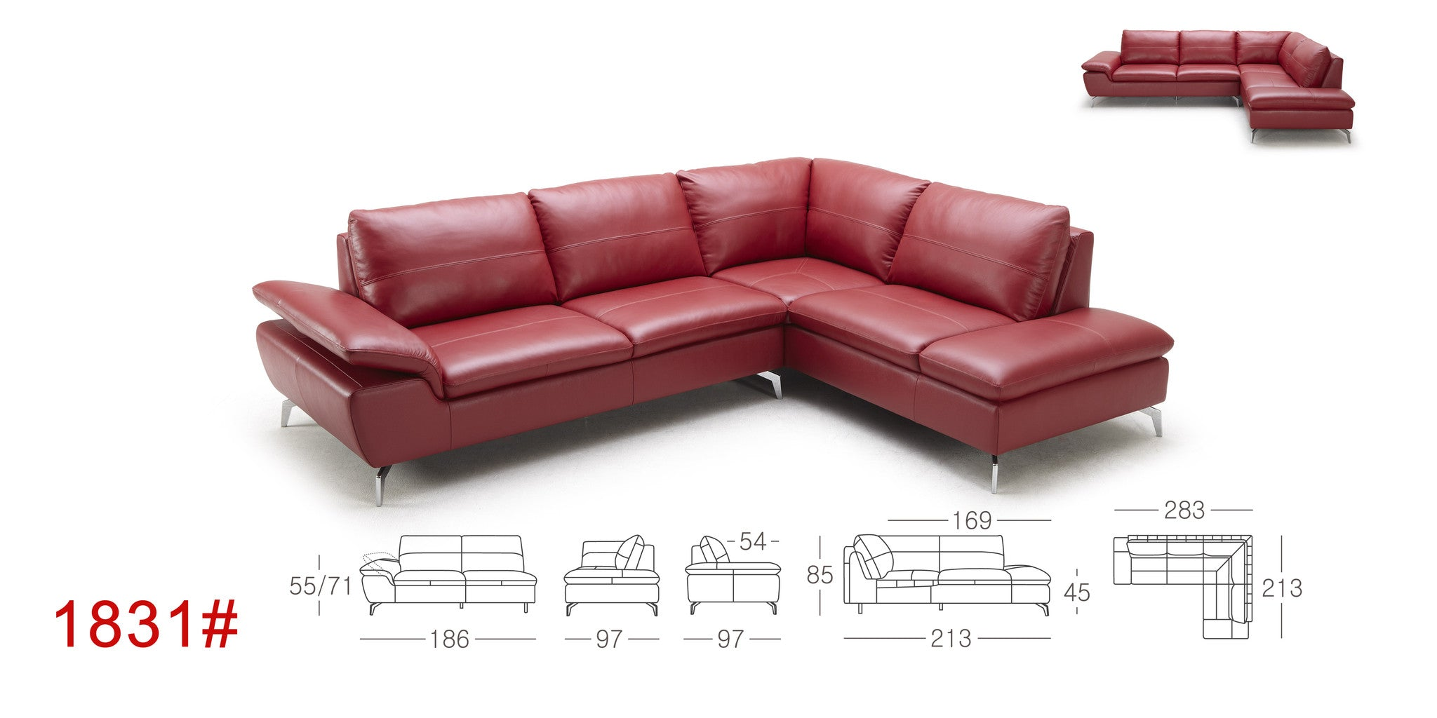 KT 1831 KUKA Gray Eco leather Sectional – Eurohaus Modern Furniture