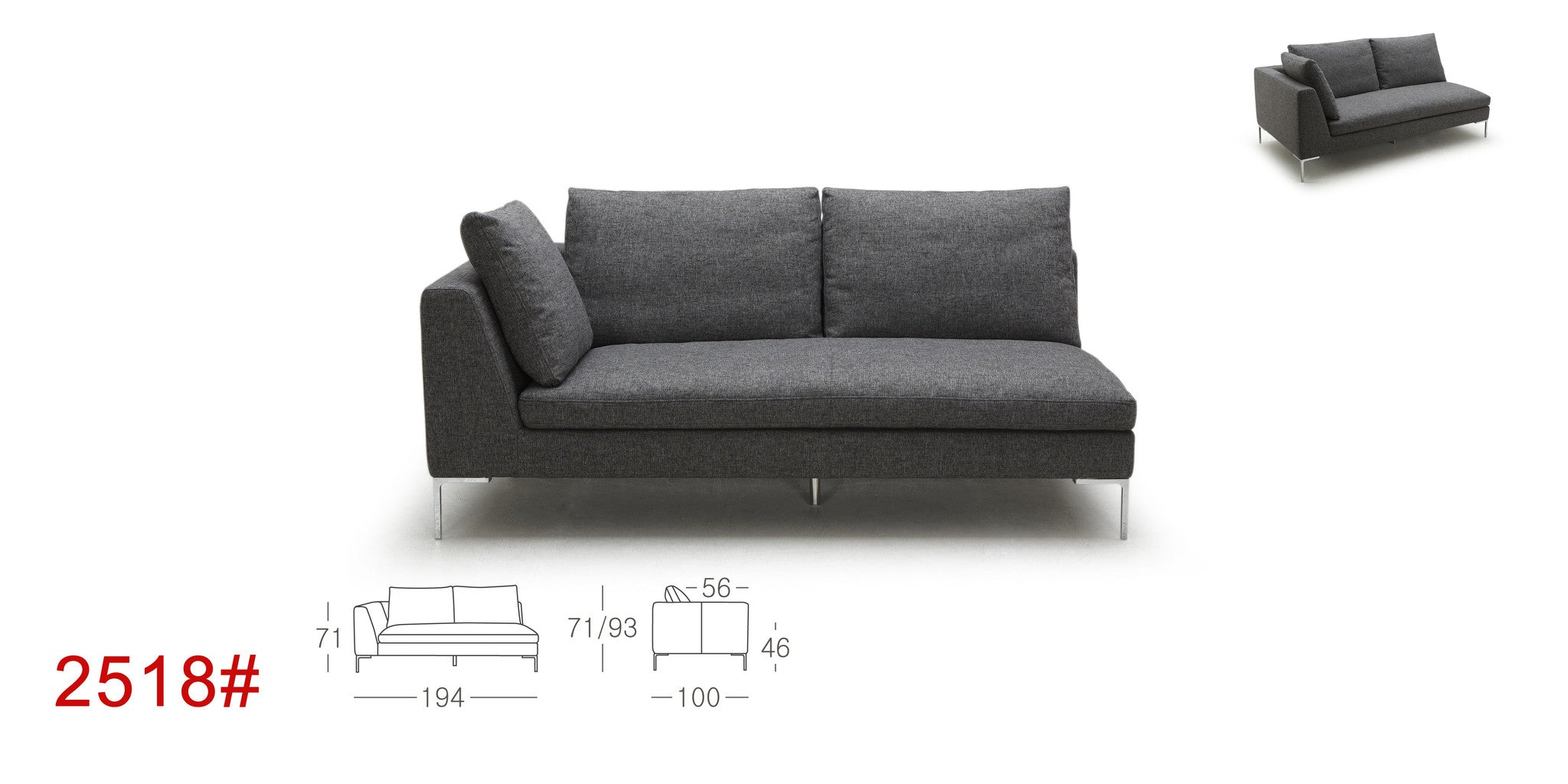 Kuka 2518 Fabric Sectional with Feather & Down Cushions – Eurohaus