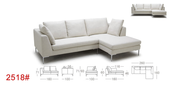 Kuka 2518 Fabric Sectional with Feather & Down Cushions