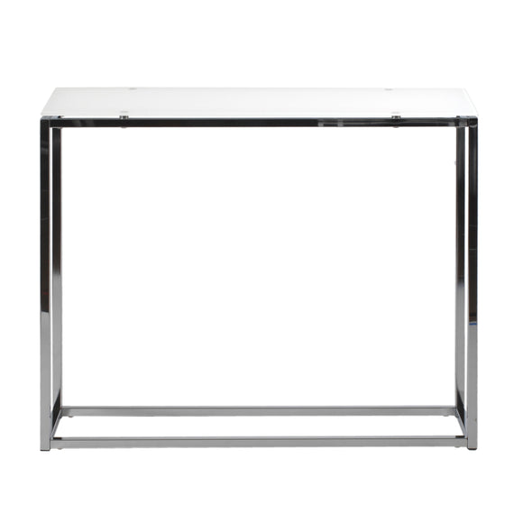 Sandor Console Pure White Glass Table w/Chrome Base