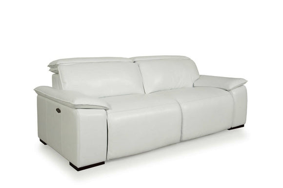Moroni 568 Full Top Grain Leather Sofa with Double Power Recliners