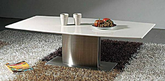 CII-CT909 Marble Top Coffee Table with Stainless Steel Base