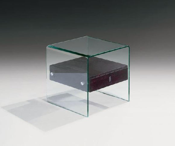 CII-ET051 Glass End Table with Lacquer Finish Drawer