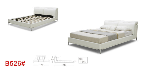 EURO KTOUCH B526 Modern Upholstered Platform Bed with Adjustable Headrests
