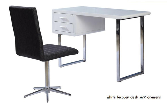 BM-102 Modern White Lacquer Desk with Drawers