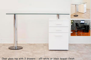BM-BA28 Modern Desk with Clear Glass Top & Lacquer Drawers