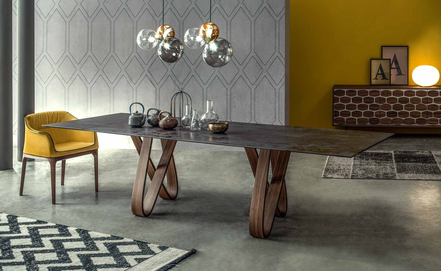 Tonin Casa Italy Butterfly Table With Square Marble Top Walnut - Marble top extendable dining table
