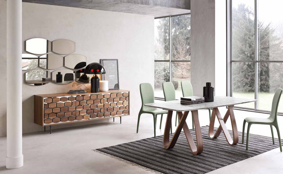 Tonin Casa - Italy- Butterfly Table with Marble Top & Walnut Legs