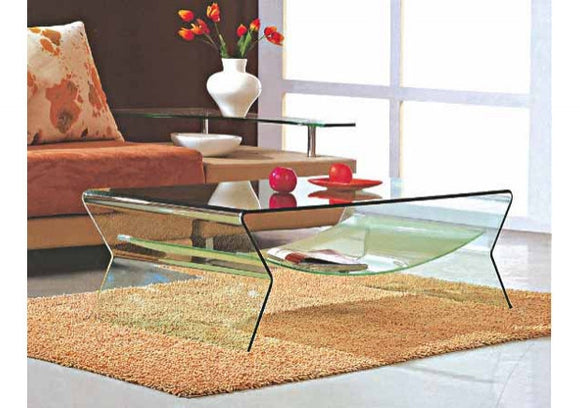 CII-CT003B Clear Glass Coffee Table with Frosted Bottom Shelf