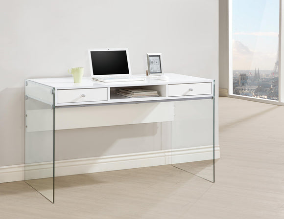 CC-829 White High Gloss Finish Desk w/Glass Side Panels