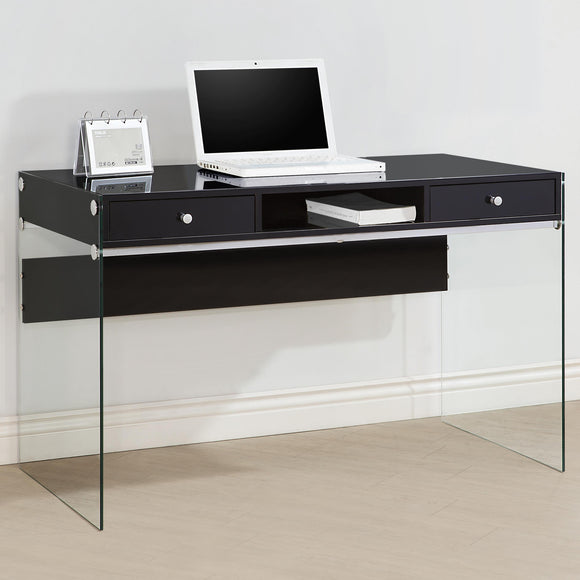 CC-830 Black High Gloss Finish Desk w/Glass Side Panels