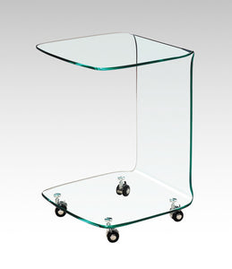 EMF-M004 All Glass Side Table with Casters