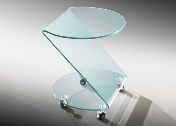 MOO5 Alll Glass Side Table with Casters