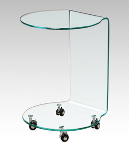 BM-M008 All Glass Round Side Table with Casters
