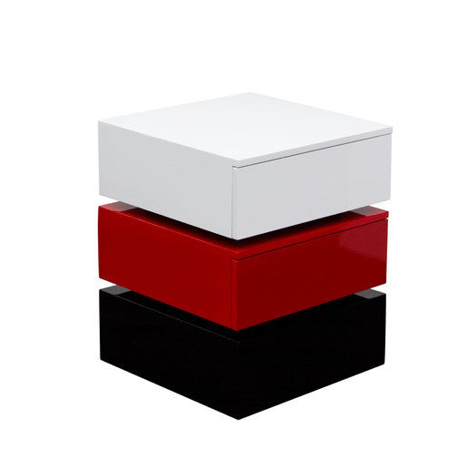 DS- High Gloss Tri-Color Side Table with Storage