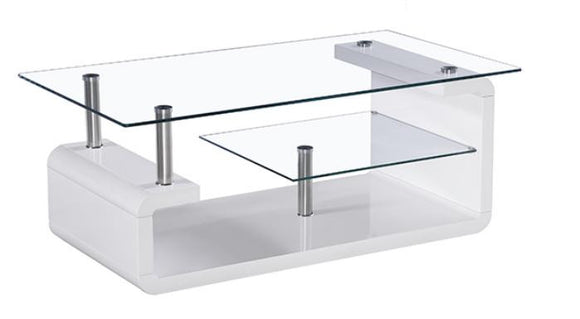 BM-U415 White Lacquer Coffee Table with Clear Glass