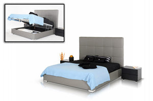 VG-Modrest Messina - Modern Grey Eco Leather Bed with Lift Storage