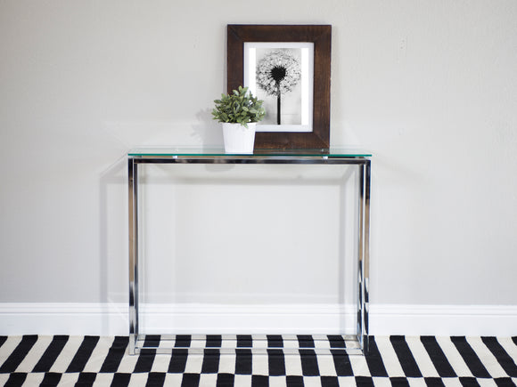 Sandor Console Clear Glass Table w/Chrome Base