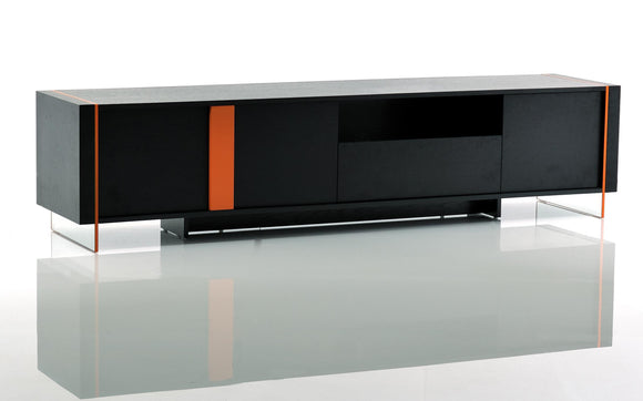 VG-Vision Modern Black Oak TV stand w/Orange Accents