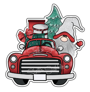 Sticker Die Cut - Christmas Truck Gnome